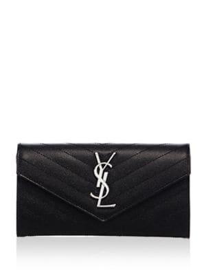 Large Flap Monogramme Silvertone Wallet