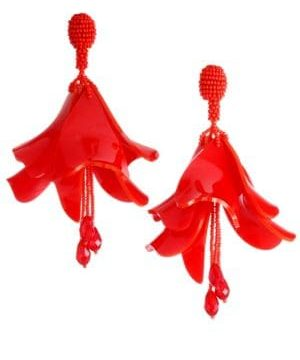 Large Impatiens Clip-On Drop Earrings