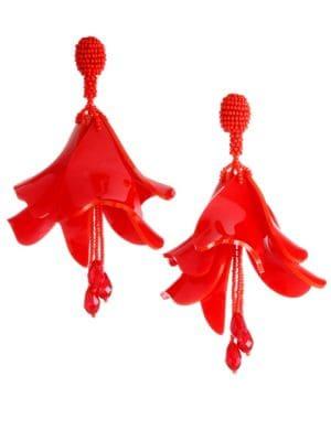 Large Impatiens Clip-On Drop Earrings
