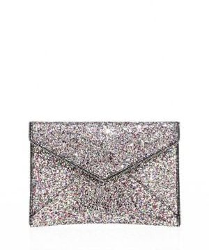 Leo Glitter Leather Clutch
