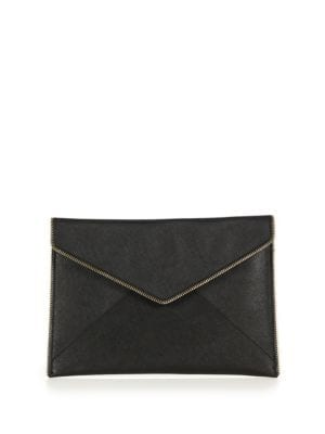 Leo Saffiano Leather Clutch