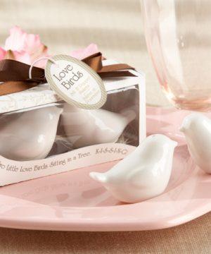 """Lovebirds in the Window"" Ceramic Salt & Pepper Shakers"