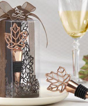 Lustrous Leaf Copper-Finish Bottle Stopper in Laser-Cut Leaf Gift Box