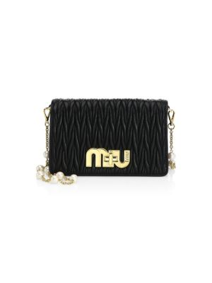 Matelasse Leather & Faux Pearl Chain Clutch