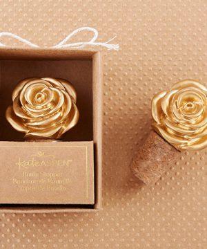 Metallic Gold Rose Bottle Stopper