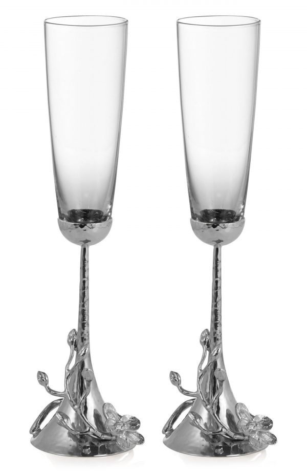 Michael Aram White Orchid Set Of 2 Toasting Flutes