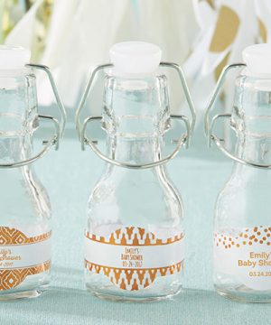 Mini Glass Favor Bottle with Swing Top - Copper Foil (Set of 12)