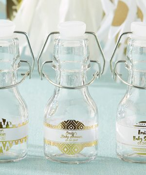 Mini Glass Favor Bottle with Swing Top - Gold Foil (Set of 12)