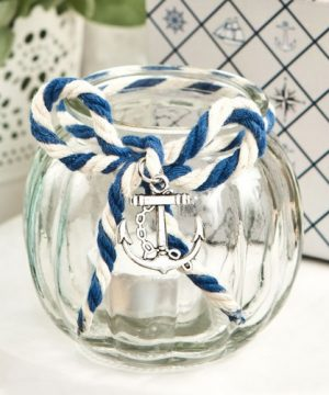 Nautical Glass Tea Light Holder