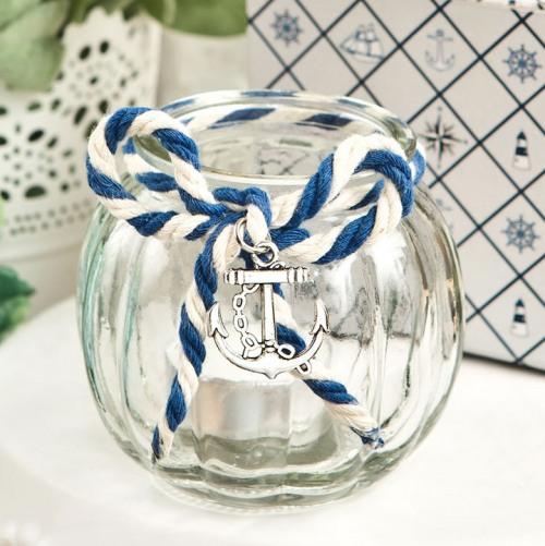 Nautical Glass Tea Light Holder