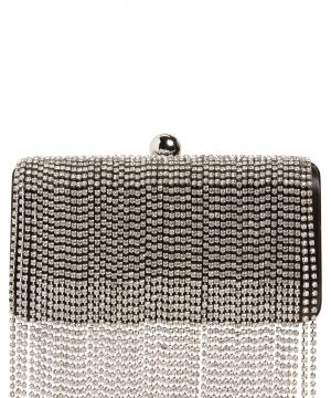Nordstrom Crystal Fringe Box Clutch - Metallic