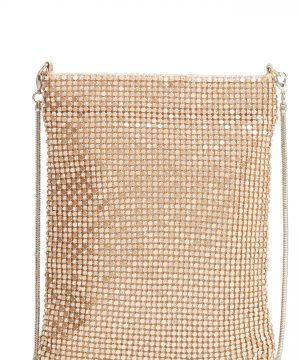Nordstrom Crystal Mesh Crossbody Bag - Metallic
