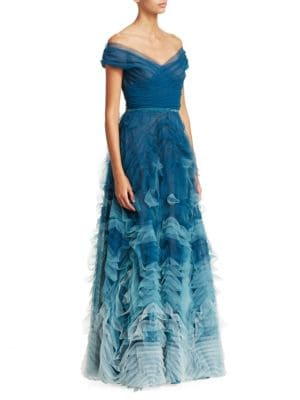 Off-The-Shoulder Ombré Tulle Gown