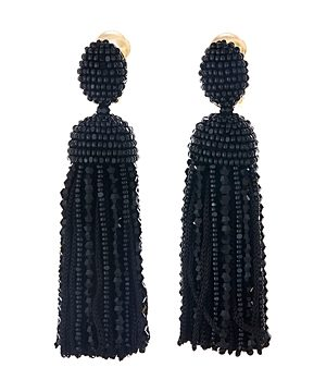 Oscar de la Renta Beaded Silk Tassel Clip-On Earrings