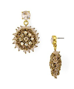 Oscar de la Renta Beaded Starburst Drop Earrings