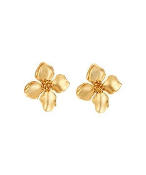 Oscar de la Renta Flower Stud Clip-On Earrings