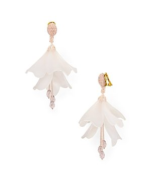 Oscar de la Renta Impatiens Flower Clip-On Earrings