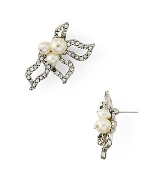 Oscar de la Renta Pave Petal Drop Earrings
