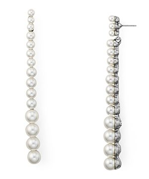 Oscar de la Renta Simulated Pearl Linear Drop Earrings