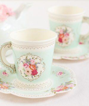 Paper Tea Cup & Saucer Set