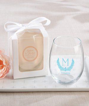 Personalized 15 oz. Stemless Wine Glass - Botanical Garden