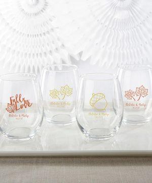 Personalized 15 oz. Stemless Wine Glass - Fall
