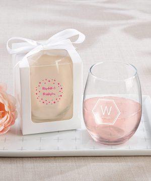 Personalized 15 oz. Stemless Wine Glass - Modern Classic