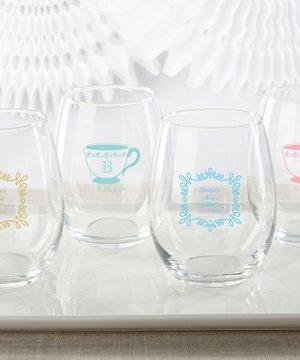 Personalized 15 oz. Stemless Wine Glass - Tea Time