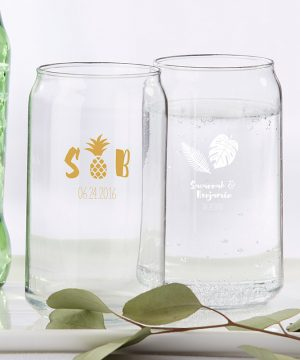 Personalized 16 oz. Can Glass - Pineapples & Palms