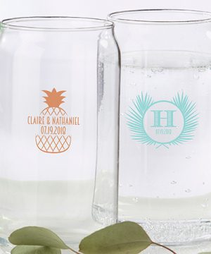 Personalized 16 oz. Can Glass - Tropical Chic