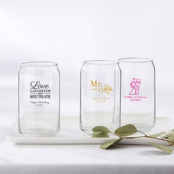 Personalized 16 oz. Can Glass - Wedding