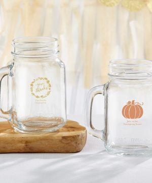 Personalized 16 oz. Mason Jar Mug - Thanksgiving