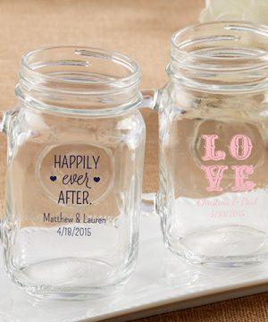 Personalized 16 oz. Mason Jar Mug - Wedding