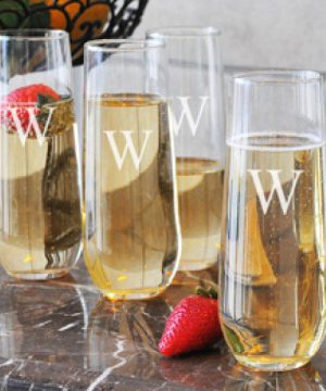 Personalized 8.5 oz. Stemless Champagne Flutes
