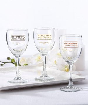 Personalized 8.5 oz. Wine Glass - Thankful for Wine