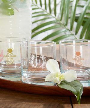 Personalized 9 oz. Rocks Glass - Tropical Chic