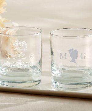 Personalized 9 oz. Rocks Glasses - English Garden