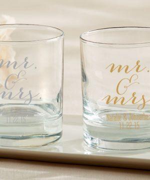 Personalized 9 oz. Rocks Glasses - Mr. & Mrs.