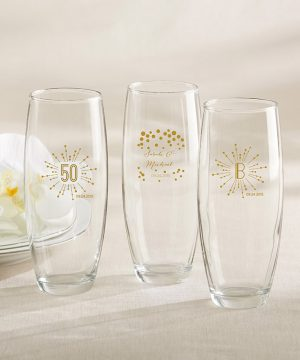 Personalized 9 oz. Stemless Champagne Glass - Milestone Gold