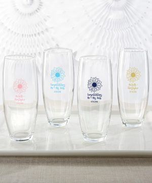 Personalized 9 oz. Stemless Champagne Glass - Sunflower