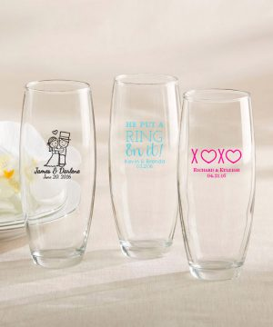 Personalized 9 oz. Stemless Champagne Glass - Wedding