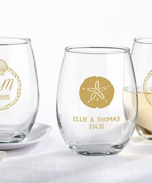 Personalized 9 oz. Stemless Wine Glass - Beach Tides