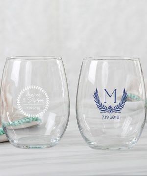 Personalized 9 oz. Stemless Wine Glass - Botanical Garden
