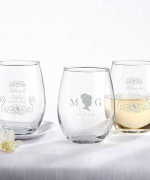 Personalized 9 oz. Stemless Wine Glass - English Garden