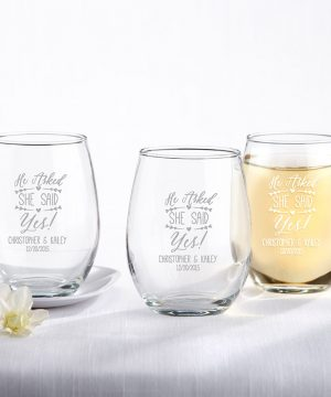 Personalized 9 oz. Stemless Wine Glass - He Asked, She Said Yes