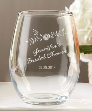 Personalized 9 oz. Stemless Wine Glass - Kate's Rustic Bridal Shower Collection