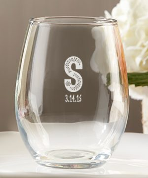 Personalized 9 oz. Stemless Wine Glass - Kate's Rustic Wedding Collection