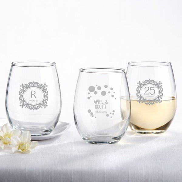 Personalized 9 oz. Stemless Wine Glass - Milestone Silver