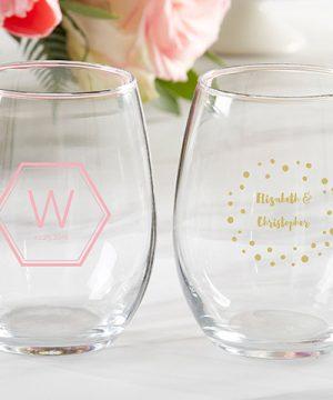 Personalized 9 oz. Stemless Wine Glass - Modern Classic