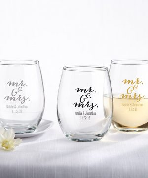 Personalized 9 oz. Stemless Wine Glass - Mr. & Mrs.